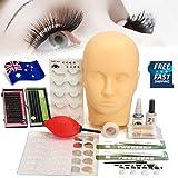 Mannequin Training Make Up False Eyelashes Extension Practice Set, LuckyFine Professional Head Model Glue Tool Kit for Makeup Massage Practice