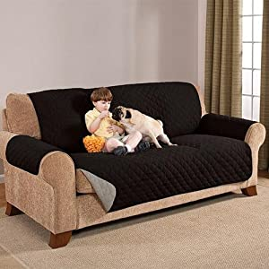 Reversible Sofa Cover Black Grey Home