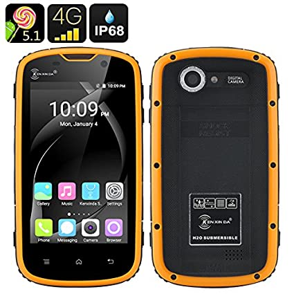 SHOPINNOV Smartphone Android Robuste 4G IP68 Double SIM Ecran 4 pouces Jaune