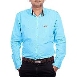 Aaduki Men's Casual Blue Shirt-XXL