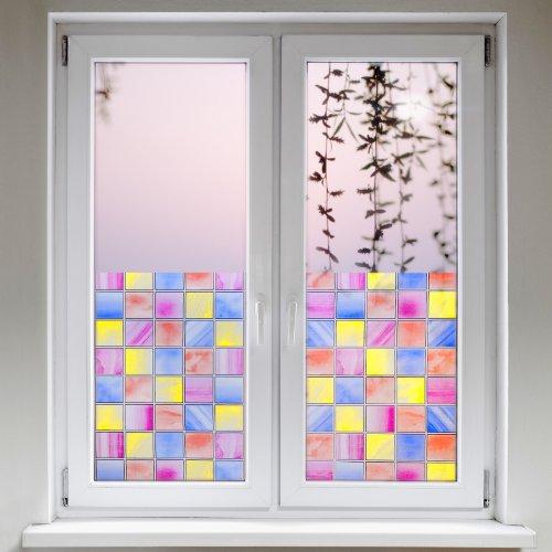 Artefact dekofolie fensterfolie quadrate bunt - Fensterfolie statisch anbringen ...