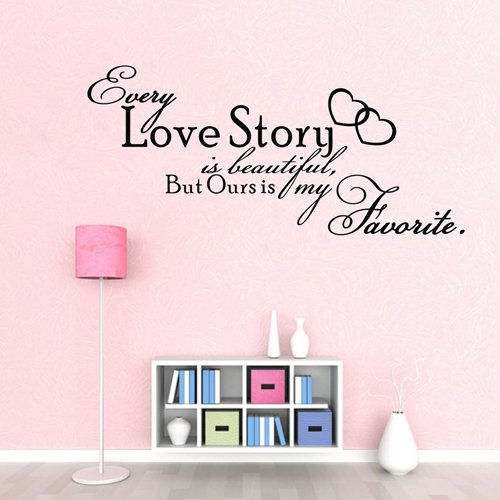 "21.7"" X47.2"" Art Vinyl Custom Love Quotes Every Love Story Is Beautiful But Ours Is My Favorite Words Wall Quotes Removable Decal Mural Decor For Children Rooms"