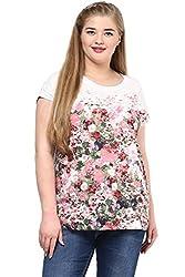 Alto Moda by Pantaloons Women's Round Neck Top (205000005652565, White, XXX-Large)