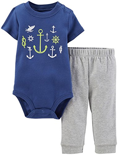 Carter's 2 Piece Graphic Layette Set (Baby) - Anchors-6 Months