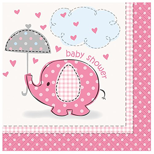 pink elephant girl baby shower cocktail napkins 16ct new ebay