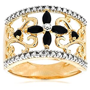 Yellow Gold Plated Sterling Silver Sapphire with Diamond-Accent Flower Ring