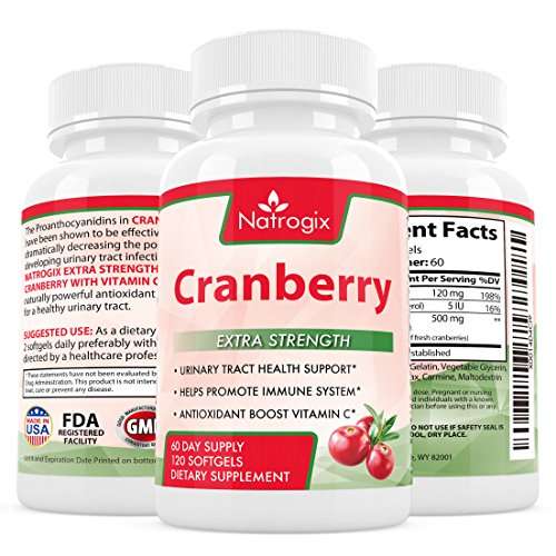 Cranberry Concentrate 500mg Urinary Tract Health - 120 Softgels - 25,000mg Equivalent of Cranberry Fruit Fortified with 120mg Vitamins C and Natural 5IU Vitamin E (Pomegranate Apple Sauce compare prices)