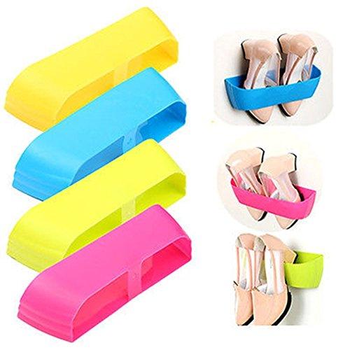 Vale® 4 morceaux de mur de plastique adhésif suspendus étagère à chaussures Chaussures Rack Storage cintres Organisateur
