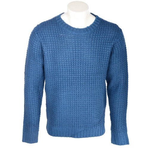 Fletcher & Lowe Men's Petrol Blue Chunky Fisherman Rib Crew Neck Jumper in Size XXLarge