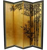 "Unique Zen Japanese Style Decor - 72"" x 72"" Bamboo Art Gold Leaf Decorative Screen Room Divider"