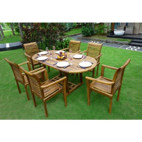 gartenm bel teak 6 8 sitzer oval ge lt bali raja online kaufen. Black Bedroom Furniture Sets. Home Design Ideas