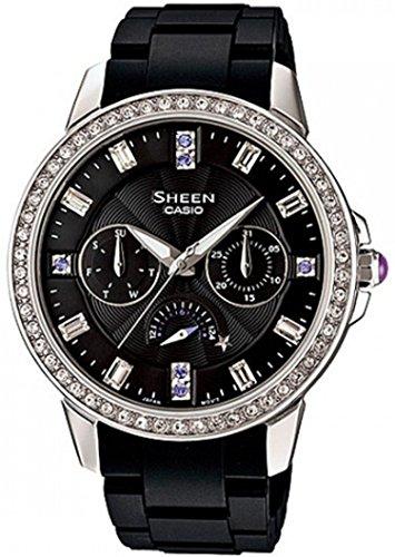 Casio Women's Sheen SHE3023-1A Black Resin Quartz Watch with Black Dial
