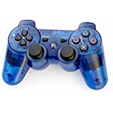 Control Inalámbrico Yanx para PS3 Bluetooth con doble vibración, color azul transparente.