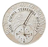 Fossil Celestial Thermometer Clock - Weathered Limestone