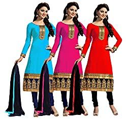 PARISHA Present 3 Pieces combo Sky Blue, Dark Pink, Red Embroidered Un Stitched Straight Suit ARV1001-02-03