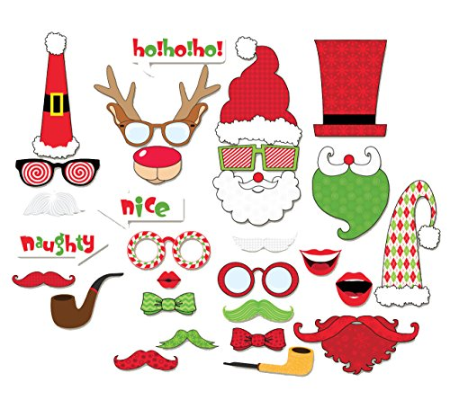 Happy Christmas Photo Booth Props Sticks 29 Pieces, Holiday Day Decoration Santa for Party Supplies - DIY REQUIRED (Italian Photo Prop compare prices)