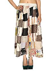 Dresses Casual Skirt Cotton Cream Floral Patchwork For Women By Rajrang