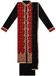 Seema Women's Georgette Unstitched Salwar Suit (Red & Black)