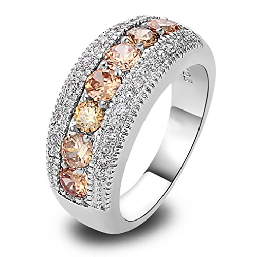 Round Cut Imperial Topaz Sterling 925 Silver Cocktail Ring, Us Size 6-10 (6)