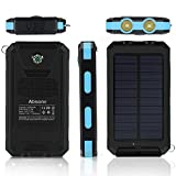 10000mAh Solar Panel Charger Dual USB External Battery with 2LED Flashlight Carabiner Compass, Outdoor Backup Power Pack for iPhone iPad iPod Cell Phone Tablet Camera (Dark blue)