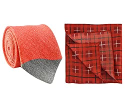 Chokore Red and Grey Linen Tie & Red and Black Plaids Silk Pocket Square set