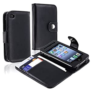 Black Leather Wallet Case Cover Compatible With Apple iPhone 3G /3GS