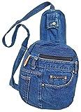 BDJ アップサイクル ブルー デニム マルチファンクション バッグ ななめがけ スリング バックパック チェストパック DMB080