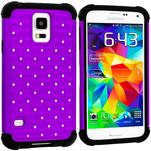 Mylife (Tm) Dark Black And Purple - Diamond Shell Series (2 Layer Neo Hybrid) Slim Armor Case For The New Galaxy S5 (5G) Smartphone By Samsung (External Rubberized Hard Shell Flex Piece + Internal Soft Silicone Flexible Bumper Gel) front-345822