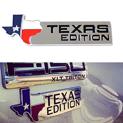 iJDMTOY (1) Chrome Finish 3D Texas Edition Emblem Badges For Ford F-150 F-250 F-350 (Also Universal For Chevy GMC Dodge Trucks) (Ford F150 Side Emblems compare prices)