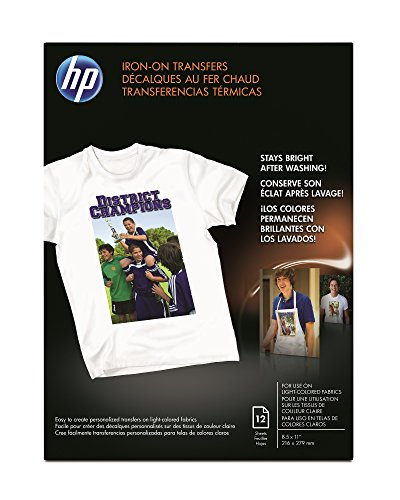HP Iron-On Transfers, 8.5 x 11 Inch, 12 Pack (Clear Iron On Transfer Paper compare prices)