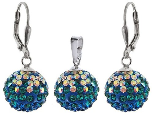 Stylish Jewellery: 925 Sterling Silver Shamballa Aurore Boreale, Blue & Green Swarovski Crystal Ball Secure Lever Back Earrings & Necklace Set. Come With Sterling Silver Snake Chain - 42cm