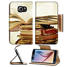 buy Msd Samsung Galaxy S6 Flip Pu Leather Wallet Case Pile Of Old Books On Vintage Background Image 21789610