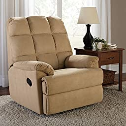 Sturdy Construction and Easy-Care Upholstery Microsuede Rocker Recliner with with Spring Core, Beige