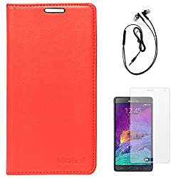 Lishen Premium Quality Leather Stand Flip Cover Case For Samsung Galaxy Note 4 N910 (Red) + Black Earphones + Matte Screen