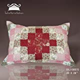 Tache 2 Piece 20 x 28 Inch 100% Cotton Floral Rustic Patchwork Cotton Pink and Red Sweetheart Diamond Decorative Accent Pillowcase Cover