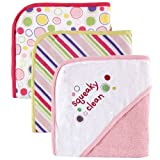Luvable Friends 3-Pack Embroidered Sayings Hooded Towels - Pink
