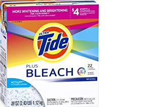 Tide Plus Bleach Original Scent Powder Laundry Detergent 22 Loads 39 Ounce