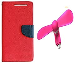 Novo Style Book Style Folio Wallet Case Micromax Canvas Selfie Lens Q345 Red + Smallest Mobile Fan Android Smart Phone