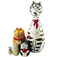 Bits and Pieces – Cat Figurines Wooden Russian Nesting Dolls – Matryoshka Doll Animal Figurines -…
