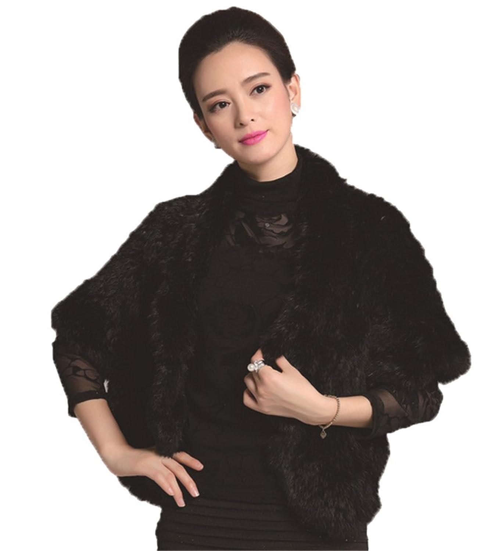 YRLOVE Mode Damen Echter Gestricktes kanichen Pelz Stahl Kap Poncho Mantel online kaufen