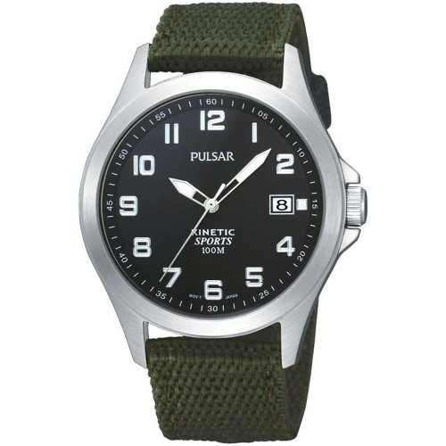 Pulsar Kinetic Black Dial Green Fabric Strap Gents Military Watch PAR163