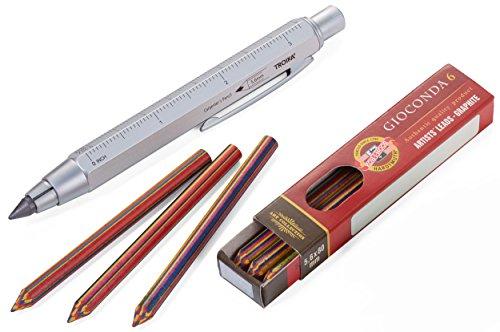 TROIKA ZIMMERMANN MAGIC MEHRFARBMINEN-STIFT - Zimmermannsbleistift inkl. 6 Mehrfarbminen (von KOH-I-NOOR) - ideal zum Malen, Trend: Ausmalbücher für Erwachsene - Fallminen-Stift (5,6 mm HB-Mine) - Zentimeter-/Zoll-Lineal - 1:20m/1:50 m Skala - Anspitzer - Messing - lackiert - silber - das Original von TROIKA