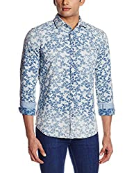 GAS Men's Casual Shirt (8059890932764_85379WY05_Large_WY05 - Blue)