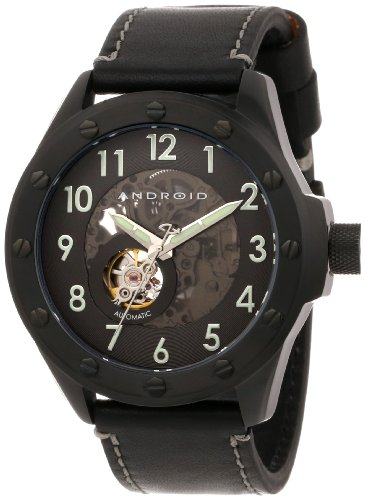 Android Men's AD469BKK Espionage Skeleton Ion-Plating Black Open Heart Watch