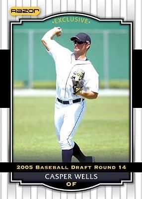 2008 Razor Signature Series WHITE Baseball Card # 53 Casper Wells (Prospect - RC - Rookie Card) Detroit Tigers - MLB Baseball Trading Card