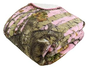 "REGAL Sherpa Luxury 78"" x 94 Mink Bed Spread Blanket - The Woods' Pink Camo"