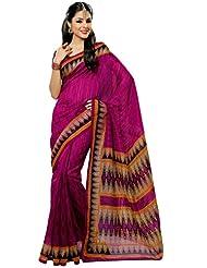 Prafful Silk Bhagalpuri Printed Saree With Unstitched Blouse - B00KNUHBFY