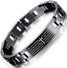 Comprar Ostan - 316L acero inoxidable gótico cruz prayer pulseras de hombres - nueva moda joyería brazaletes, negro