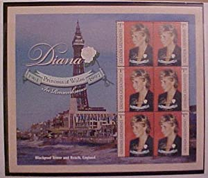 Princess Diana In Rememberance 1961-1997 Collector Sheet Blackpool Tower and Beach, England $1.50 Grenada Grenadines 6 Stamp Sheet