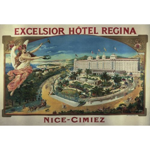 EXCELSIOR HOTEL REGINA NICE CIMIEZ SMALL VINTAGE POSTER CANVAS REPRO
